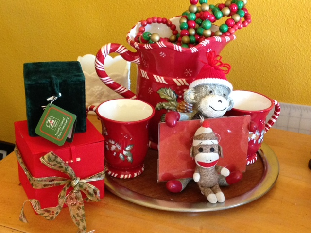 Christmas cocoa mugs and 2 Sock Monkeys