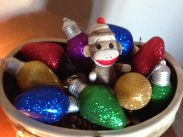 Christmas Lights and a Sock Monkey