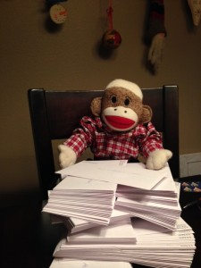 SMJ with stack of Christmas cards
