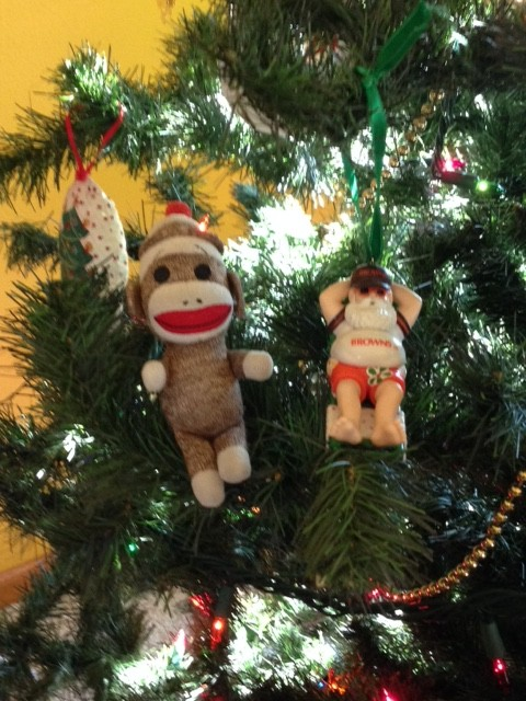 Sock in Christmas Tree with the Browns Santa